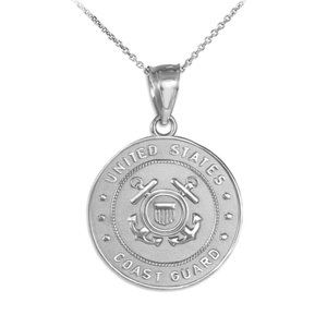 Fine Sterling Silver US Coast Guard Coin Necklace